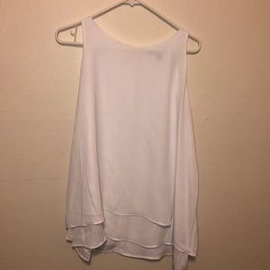 White sleeveless blouse with zipper in back